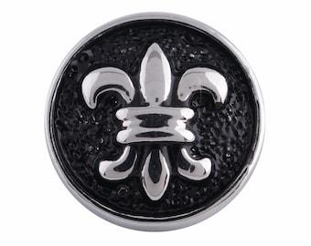 1 PC - 12MM Fleur De Lis Silver Charm for Snap Jewelry KS5058-s Cc3094