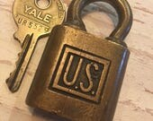 YALE vintage US brass lock with working key