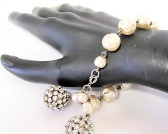 Baroque Pearl  Bracelet - Rhinestone Dangles - Wedding Bracelet