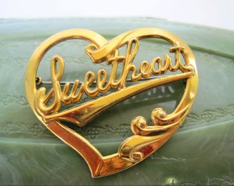 Sweetheart  Brooch -  Gold Tone - Vintage 60's - Gift for Woman