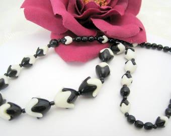 Black White Necklace -  lucite Tulip Shaped - Plastic Links.