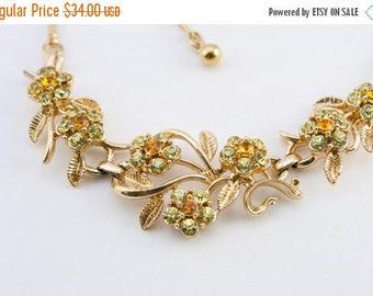 20% OFF SALE 60's Vintage Rhinestone Necklace, Green Rhinestone Jewelry, Vintage Bridal Jewelry