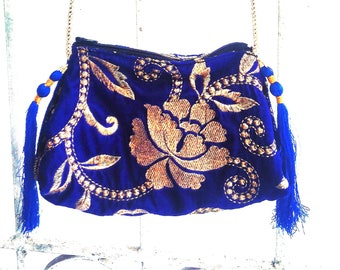 blue, velvet purse. little shoulder pouch, small bag, beautiful floral bag with silk fringes for travel, festivals and looking good