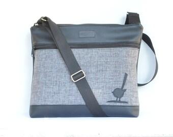 Cross body bag, grey  upholstery fabric and black vinyl Messenger bag, Shoulder bag Large. Black  bird.
