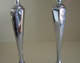 Set of 2 Vintage Sheffield Plate Candle holders 10 Inches high