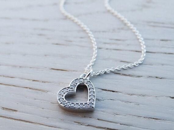 Silver Diamond Heart Necklace - Sterling Silver - Diamonds