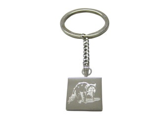 Silver Toned Etched Shaded Raccoon Keychain