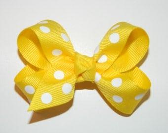 Yellow & White Polka Dot Medium Hair Bow
