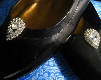 """SALE MUSI Shoe Clips Rhinestone Covered Teardrop Shape. 8 mm Center Stone. Prong Set. 1.25"""" x 7/8"""".  Brilliant Clear Stones.  Bridal Must."""