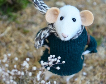 Little Traveler Mouse- Needle Felted Ornament of collection Rustles from the Meadow MADE TO ORDER