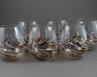 Set of Six-Hand Blown-Stemless Wine Glasses