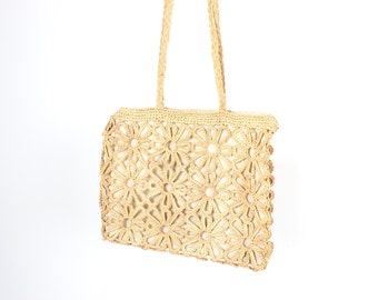 SALE - 80s Flower Shaped Cut Out Straw / Sea Grass Large Square / Rectangle Tote / Carry All Handbag / Beach Bag