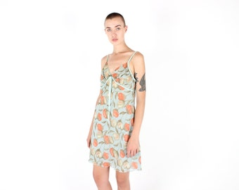 90s Pastel TULIP Watercolour Ruched Printed FLORAL Babysitters Club Spaghetti Strap Slip Nighty Cami Dress