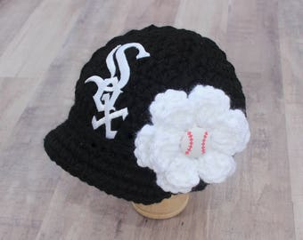 Baby Chicago White Sox - Hat - Cap - Knitted / Crochet - Baby Girl Gift / Newborn - Photo Photography Prop - Baseball MLB