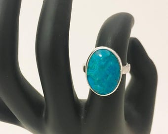 Chrysocolla Gemstone and Sterling Silver Cocktail Statement Ring