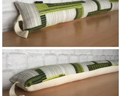 Handmade Draught Excluder Original Vintage Green Graphic Fabric 1960s 1970s Retro Door Draught Stopper