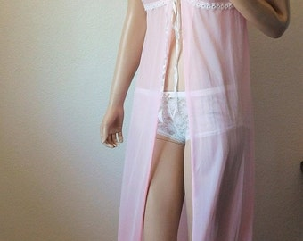 CYBER SALE Vintage Light Pink Sheer Bed Coat - by Barad - Small