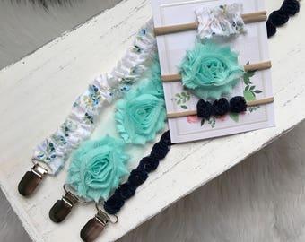Blue Floral, Aquarium Rose, Navy Blue Rose Pacifier Clips/ Newborn Gift/ Baby Girl Shower Gift/Flower Child/Gift Set Nylon Headband