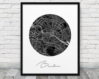 Berlin Urban Map Print. Berlin City Street Map Poster. Black & White Berlin Germany Poster. Modern Wall Art Home Office Decor. Printable Art
