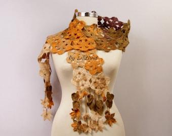 Cowl Scarf, Long Scarf, Women Scarf, Flower Scarf,  Winter Cowl, Lace Scarf, Leaf Scarf, Yellow Brown Beige Women Neck Warmer, Crochet Scarf