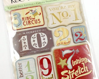 K and Company Wild Saffron Chipboard Stickers-Gold Foil Stickers-Scrapbook Stickers-Card Embellishments-Destash Stickers-Number Stickers