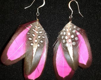 Pink, laced hen feather Earrings.