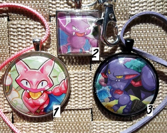 Gligar and Gliscor Glass Pendant charm made from Trading Cards