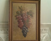 Vintage Grape Painting in Vintage Frame