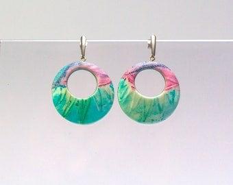 dangle hoop earrings, hypoallergenic hoops, pastel spring jewelry, modern art jewelry, green summer earrings, polymer clay jewelry, for her