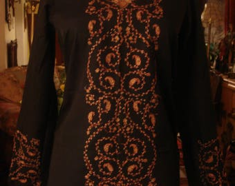 Vintage 1990s Boho Chic Afghan Black Dress with Pink Embroidery