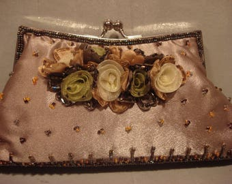 Vintage 1970s Boho Satin Sequin Flowered Clutch Handbag