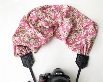 Scarf Camera Strap - dslr camera strap - camera neck strap - light pink and cream floral