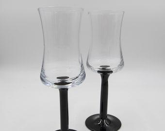Vintage Luminarc Black Glass Cordial Glasses, Set of Two(2) Luminarc Cordial Glasses, Vintage Liqueur Glasses, Vintage Luminarc Glasses