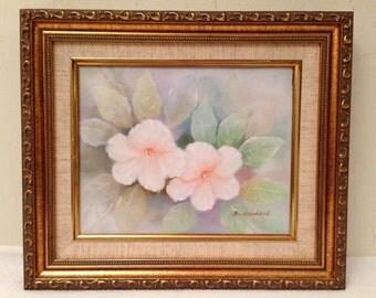 Vintage Hibiscus Flower Oil Painting Signed A Herbert Gold Gilt Frame Retro