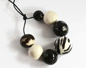 African beads, handmade African beads, black, white, ceramic beads, pottery beads from Africa, clay beads, bead set, African