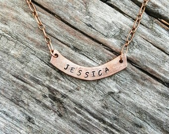Handstamped copper necklace, personalized necklace, custom necklace