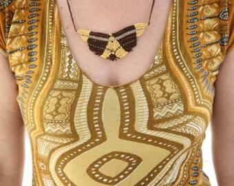 Tribal butterfly necklace pendant ~ macrame Jewelry ~ TRIBAL ~ Primitive ~ Native necklace~ macrame necklace ~ tribe ~ Brass beads ~