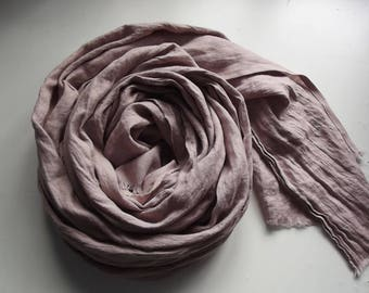Long linen scarf. Dusty pink scarf. Linen spring scarf. Soft linen scarf. Crinkly linen scarf. Pure linen scarf. Prewashed flax scarf.