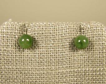 14k Jade Stud Earrings - 6mm Green Ball Yellow Gold