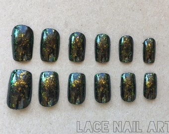 Black With Duochrome Glitter Flakes - Handpainted Nails