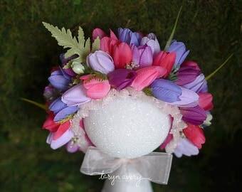 SALE Tulip love bonnet, flower bonnet, newborn prop, spring bonnet, tulips, fuchsia, purple, photo prop, newborn photo prop