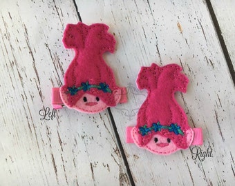 Troll Hair clip poppy hair clippie cutie bow Pick one or two. Pick Left side or Right.