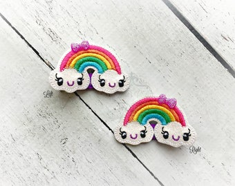 Rainbow hair clip Kawaii Embroidered Felt Hair Clippies with tiny rhinestone Bows. Pick one or two. Pick Left side or Right.