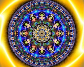 LOTUS BLEU Tapestry Wall Hanging Original Pumayana Visionary Healing Spiritual, Psychedelic, Shamanic, Sacred Geometry DMT Ayahuasca Art