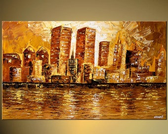 New-York Cityscape Canvas Print - Stretched, Embellished & Ready-to-Hang - Art by Osnat