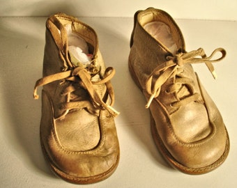 Vintage Baby Shoes Lace Up Leather 1920s 30s Victorian Style Distressed Old Baby Shoes Lot no. 2