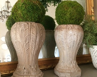 Antique Pair Cement Urns Cemetary Urns Cement Statuary Planters