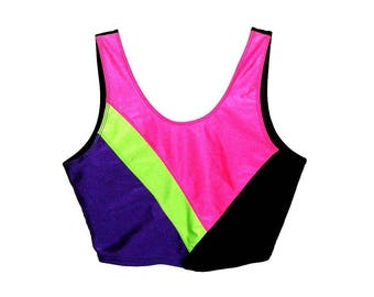 Vintage 90s Neon Geometric Colorblock Dance Exercise Cropped Tank Top by Cheetah- Size L