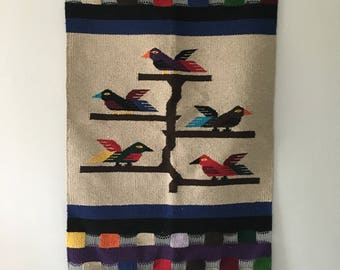 colorful mid century peruvian woven wall hanging. neon woven bird wall tapestry. tribal aztec wall decor wall hanging. boho wall hanging