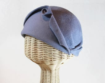 Cloche Hat in Blue Grey Velour Felt ~ Cora ~ flapper style, gatsby, dinner party ~ handmade by Bonnet, your local Portland millinery